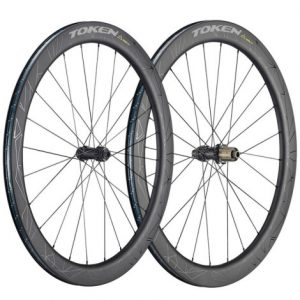 Token Prime Konax Pro Carbon Disc Clincher Road Wheelset - Black / SRAM / Shimano / 12mm Front - 142x12mm Rear / Pair / 11 Speed / Clincher / 700c