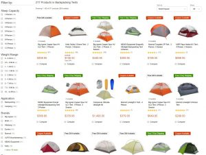 Online Outdoor Stores - Campsaver tent selection