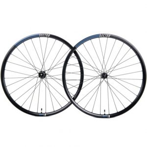 Sector R26 Disc Clincher Road Wheelset - 700c - Black / Shimano / 12mm Front - 142x12mm Rear / Centerlock / Pair / 10-11 Speed / Clincher / 700c