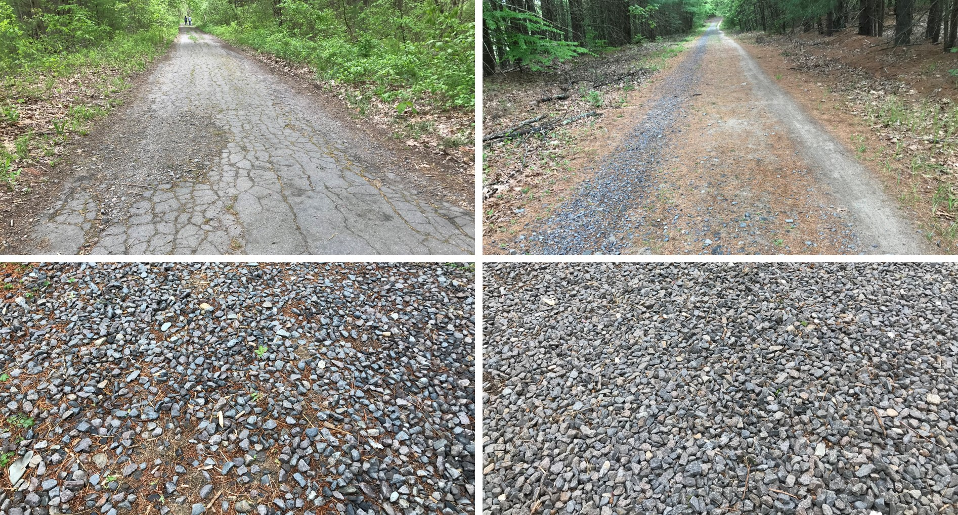 Different surfaces for testing Gravel Tires