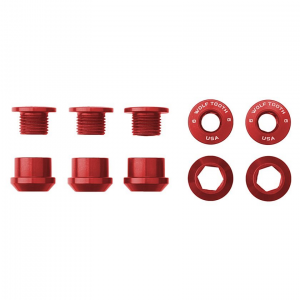 Wolf Tooth Components | Set of 5 Chainring Bolts+Nuts | Red | 6mm