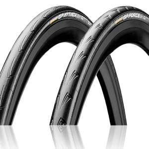 Continental Attack/Force III Front and Rear Tire Combo 700 x 23/25c Black Chili