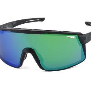 Optic Nerve Fixie Max Sunglasses (Matte Crystal Grey/Shiny Black) (Smoke/Green Mirror Len... - 22078