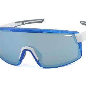 Optic Nerve Fixie Max Sunglasses (Shiny White/Crystal Blue) (Brown/Blue Mirror Lens) - 22079